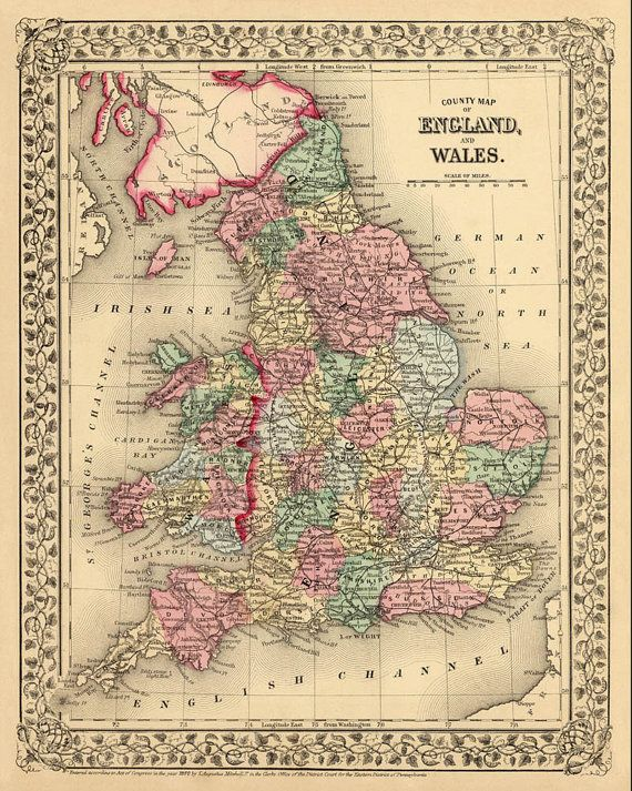Vintage map of England and Wales - Historic map - Archival