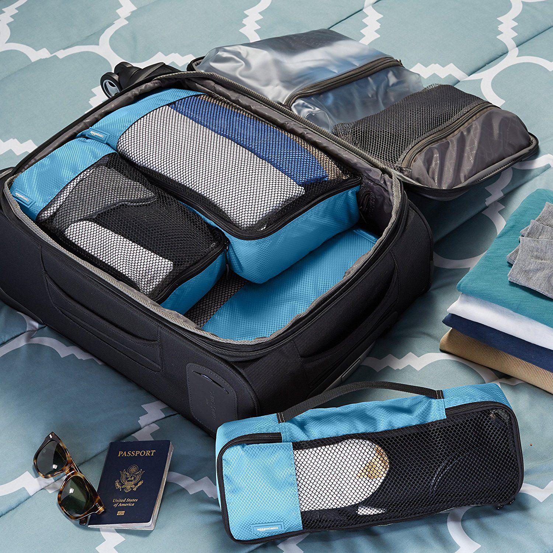 6d10aaebd AmazonBasics - Bolsas de equipaje (pequeña, mediana, grande y alargada, 4  unidades), Azul: Amazon.es: Equipaje