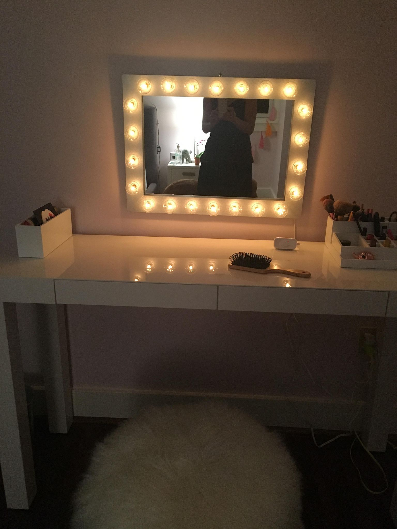 mirror vanity mirrors led round in ultra lighted nickel makeup zadro bright satin p lighting