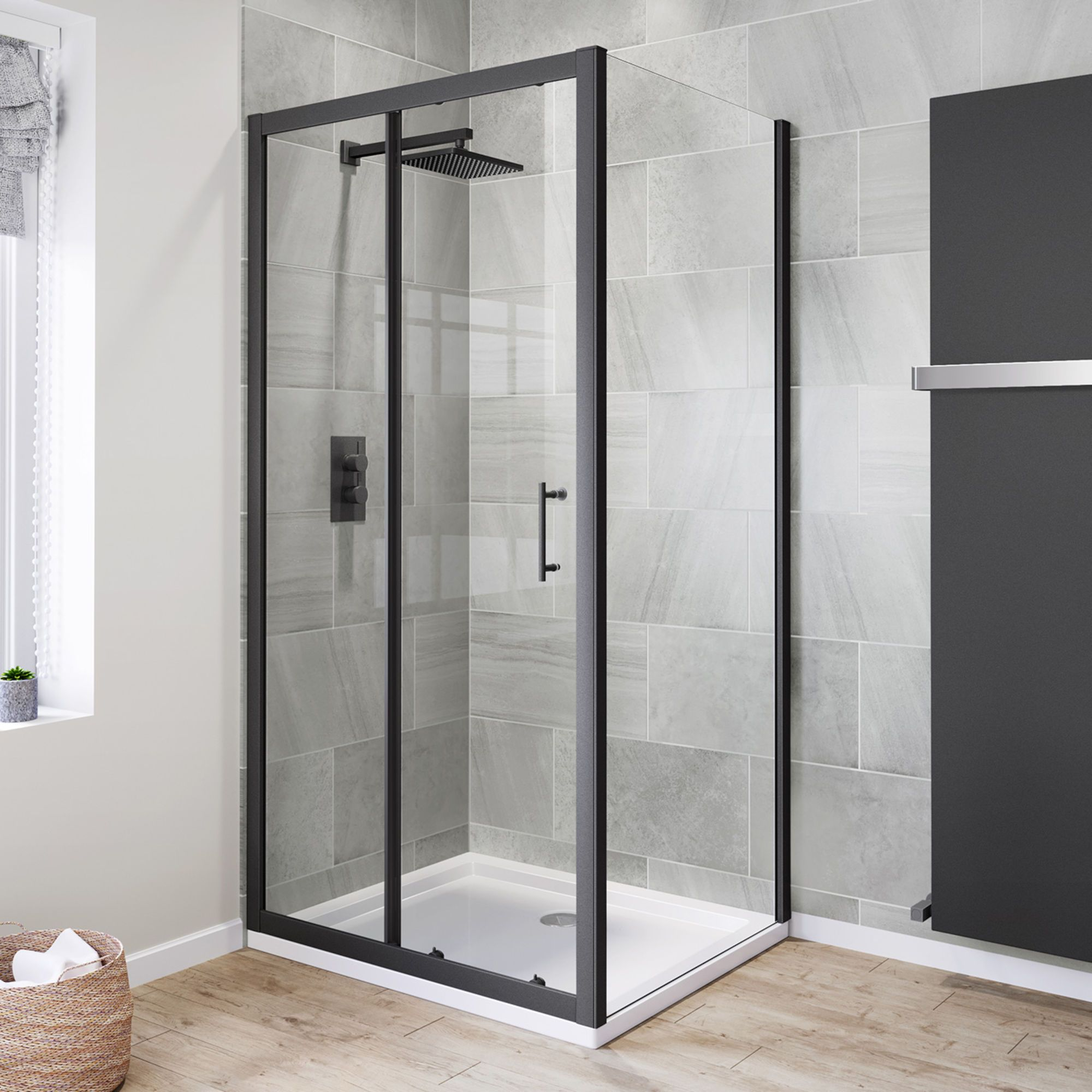 Https Soak Com En Gb Shower Enclosures Black Enclosures 1000x800mm 6mm Black Frame Sliding Sho Frameless Shower Doors Shower Doors Framed Shower Enclosures