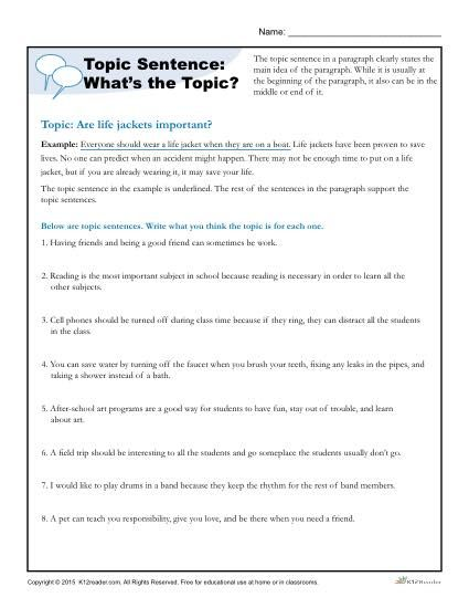 20+ Writing topic sentences worksheets Images