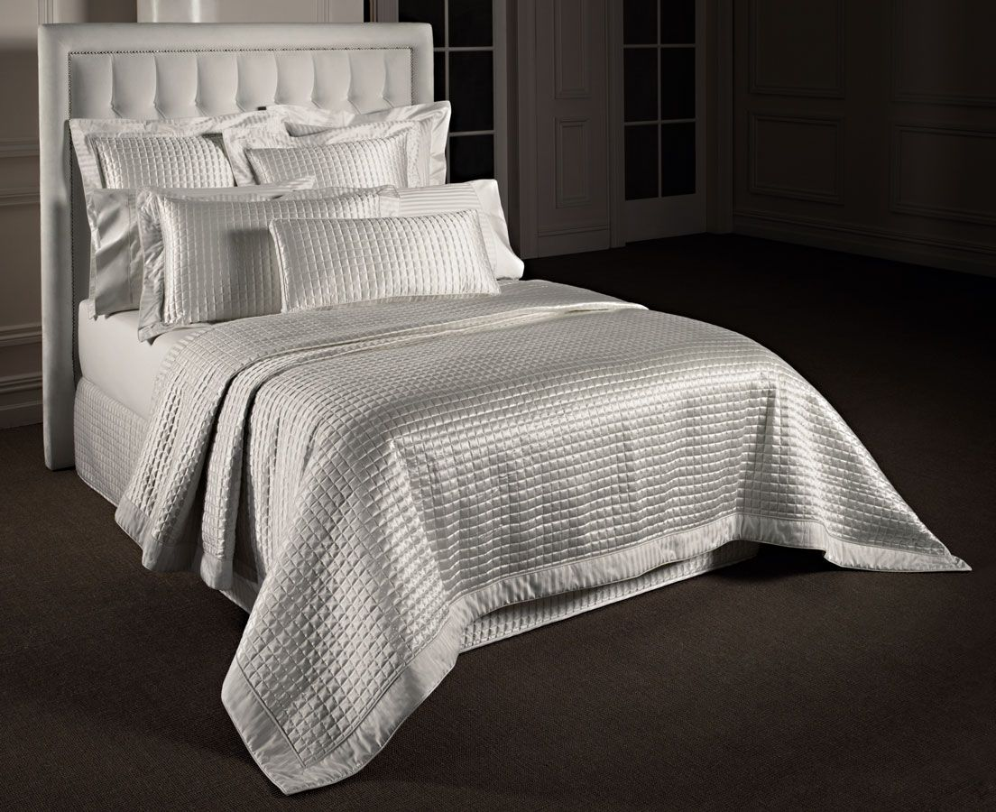 Millenia Plus bedspread in quilted white silk satin, pillowcases ... : quilted bedskirts - Adamdwight.com
