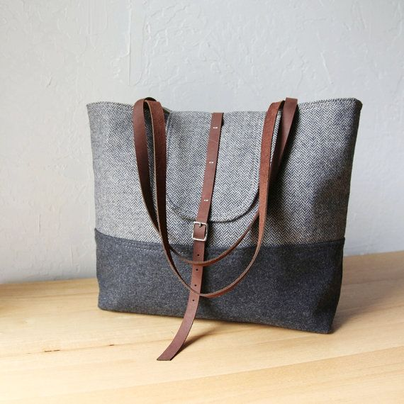 RESERVED. 2-Tone Tote in Herringbone Wool and Leather // Charcoal Gray // Organic Cotton Canvas Lining