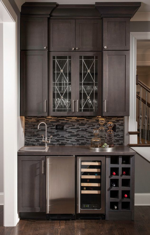 Shocking Wet Bar Decorating Ideas For Bewitching Dining Room  Transitional Design Ideas With Bar Built In Creative Millwork Design Dark Wood Flooring Dining   ...