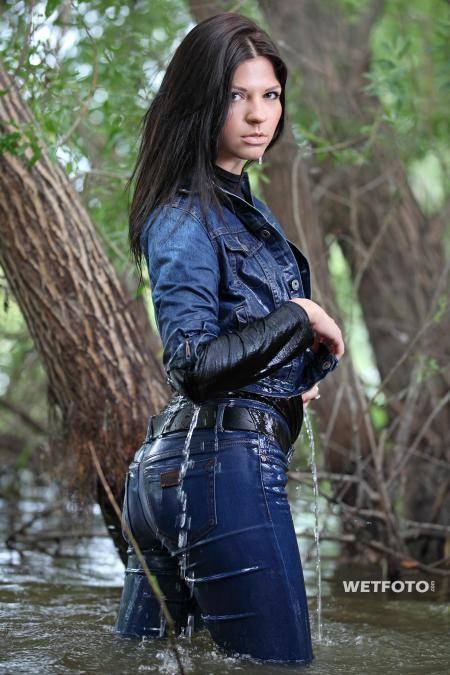 Girl Wet Jeans