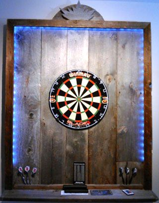 Pallet Wood Dartboard Surround With LED Lighting Strip   Perfect For A Man  Cave!