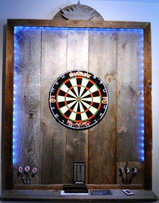 Pallet Wood Dartboard Surround With Led Lighting Strip