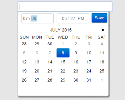 jQuery filthypillow – Fancy and Small Calendar & Date-time