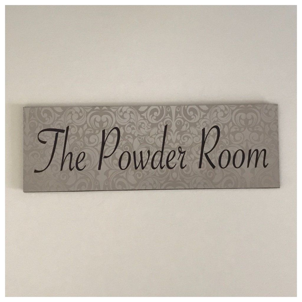 The Powder Room Silver Sign Plaque Or Hanging Powder Room Signs Plaque Sign Room Signs