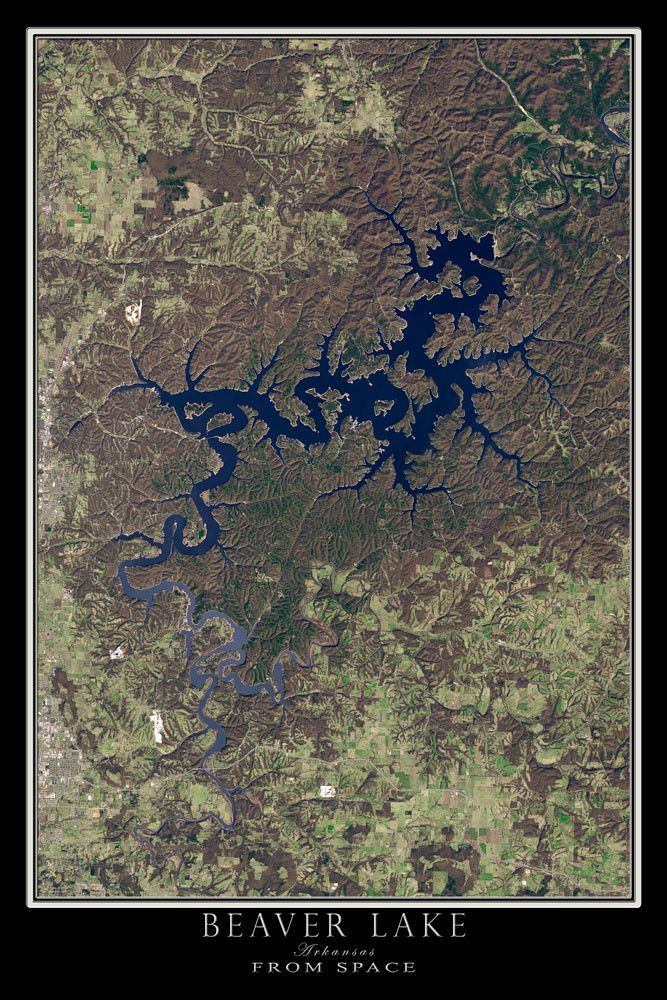 Beaver Lake Arkansas Satellite Poster Map Eureka Springs Lakes - Map through satellite