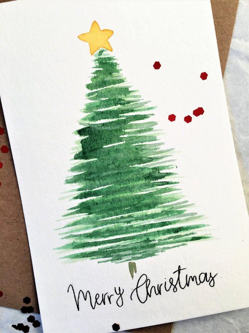 Ensemble De 5 Cartes Merry Christmas Greeting Card Handmade Etsy Christmas Greeting Cards Handmade Minimalist Christmas Card Watercolor Christmas Tree