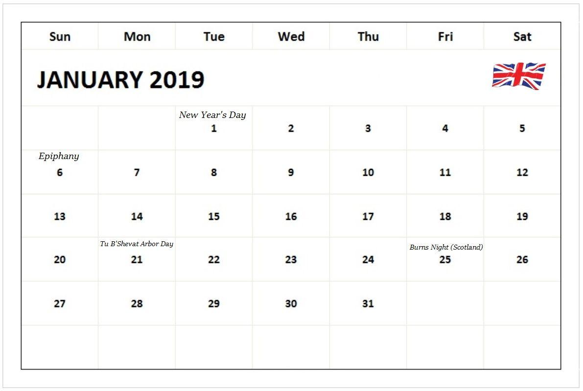 January 2019 Calendar With Uk Holidays Monthly Calendar Templates
