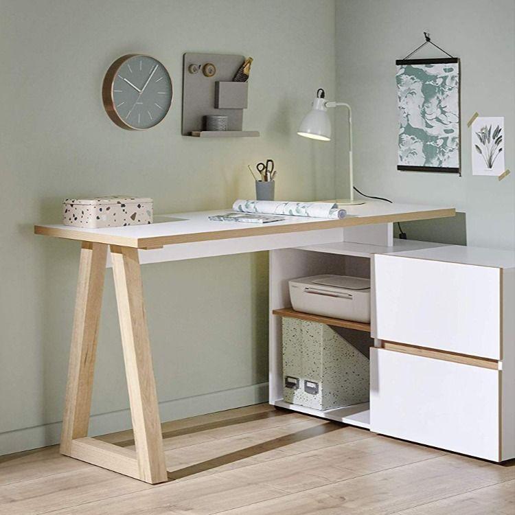 Bureau Design Scandinave Chene Et Blanc Bureau Classique Meuble Rangement Bureau Design