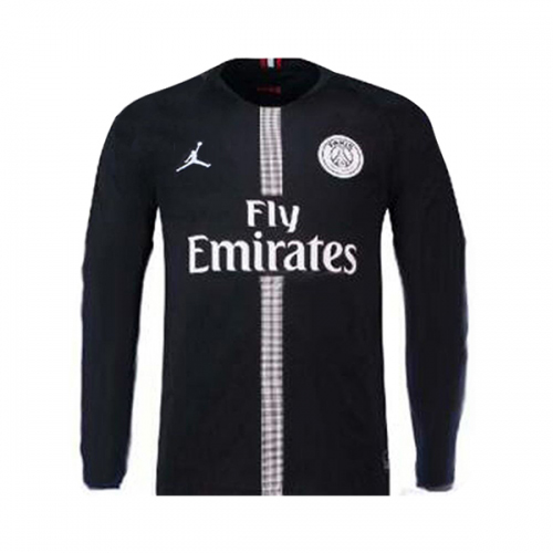 feed88dbbe6 18-19 PSG JORDAN 3rd Away Black Long Sleeve Soccer Jersey Shirt. With Paris