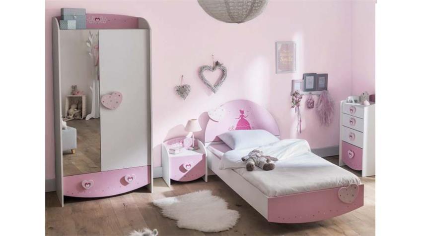 Kinderzimmer ANASTASIA Komplett Set weiß MDF rosa lackiert