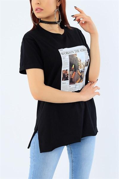 19 95 Tl Siyah Gazete Baskili Bayan Tisort 31366 Modamizbir 2020 Kadin Tisort Kiyafet Takimlari Moda Stilleri