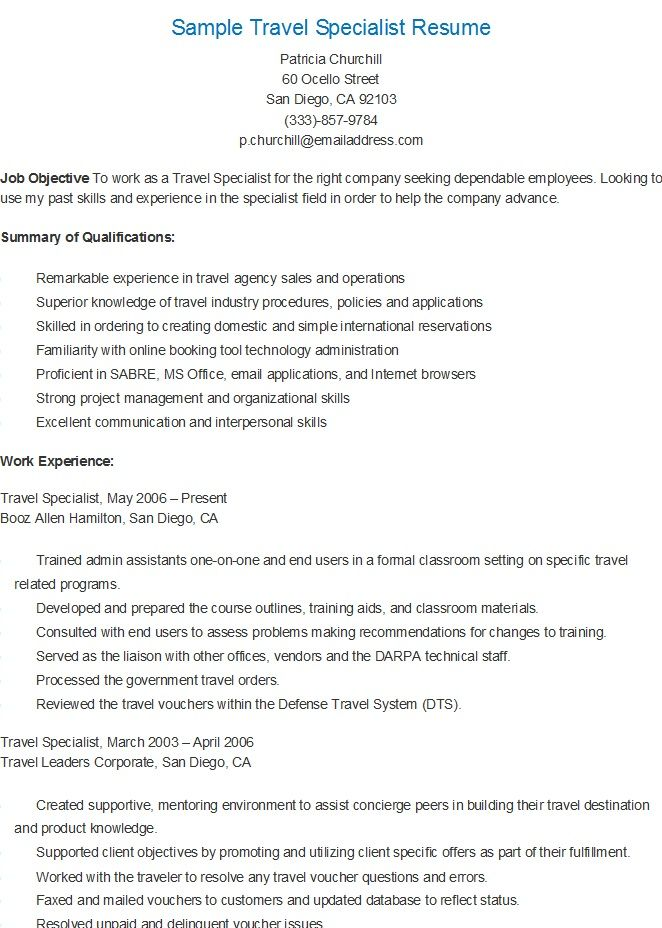 Sample Travel Specialist Resume resame Pinterest - resume objective for warehouse worker