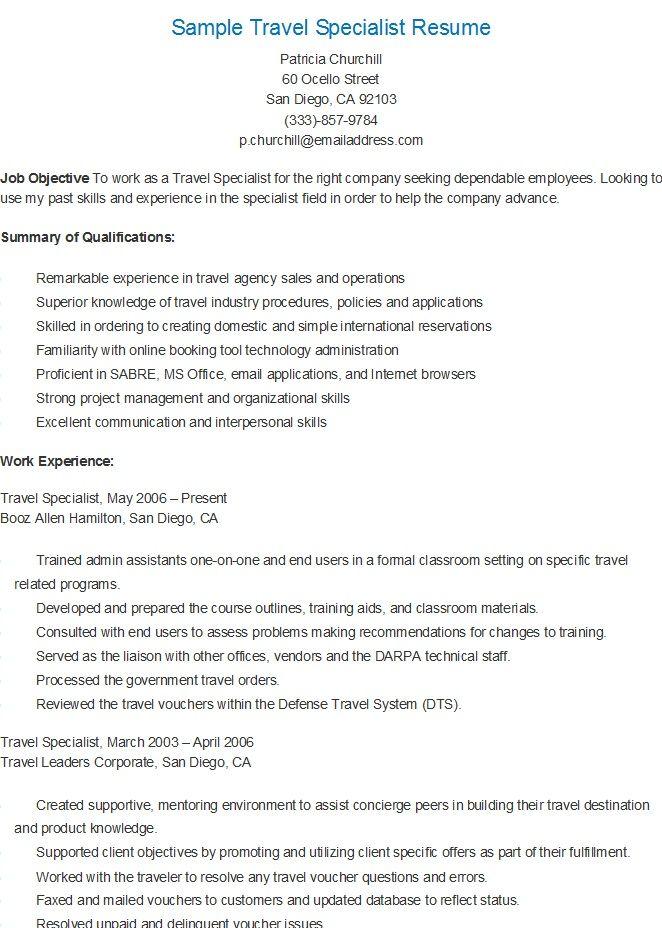Sample Travel Specialist Resume Resume Resume Examples Travel Agency
