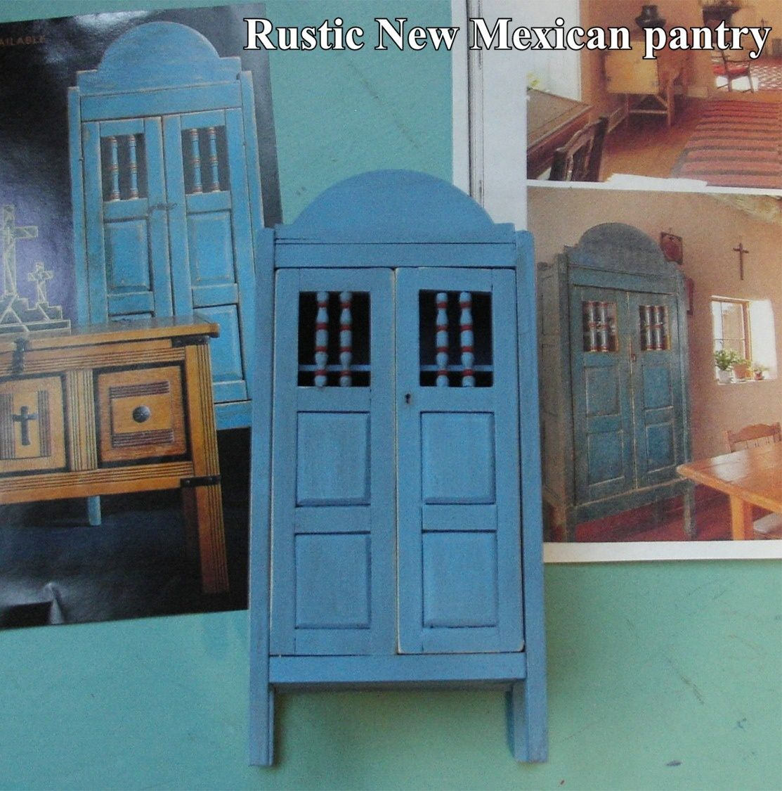 Miniature New Mexican cupboard made from photos.