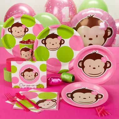 Pink Mod Monkey 1st Birthday Standard Party Pack Mod monkey and