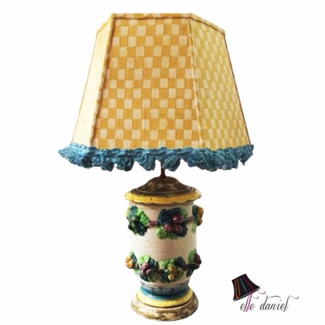 Custom lamp shade - yellow checkered lamp shade with blue fringe ...