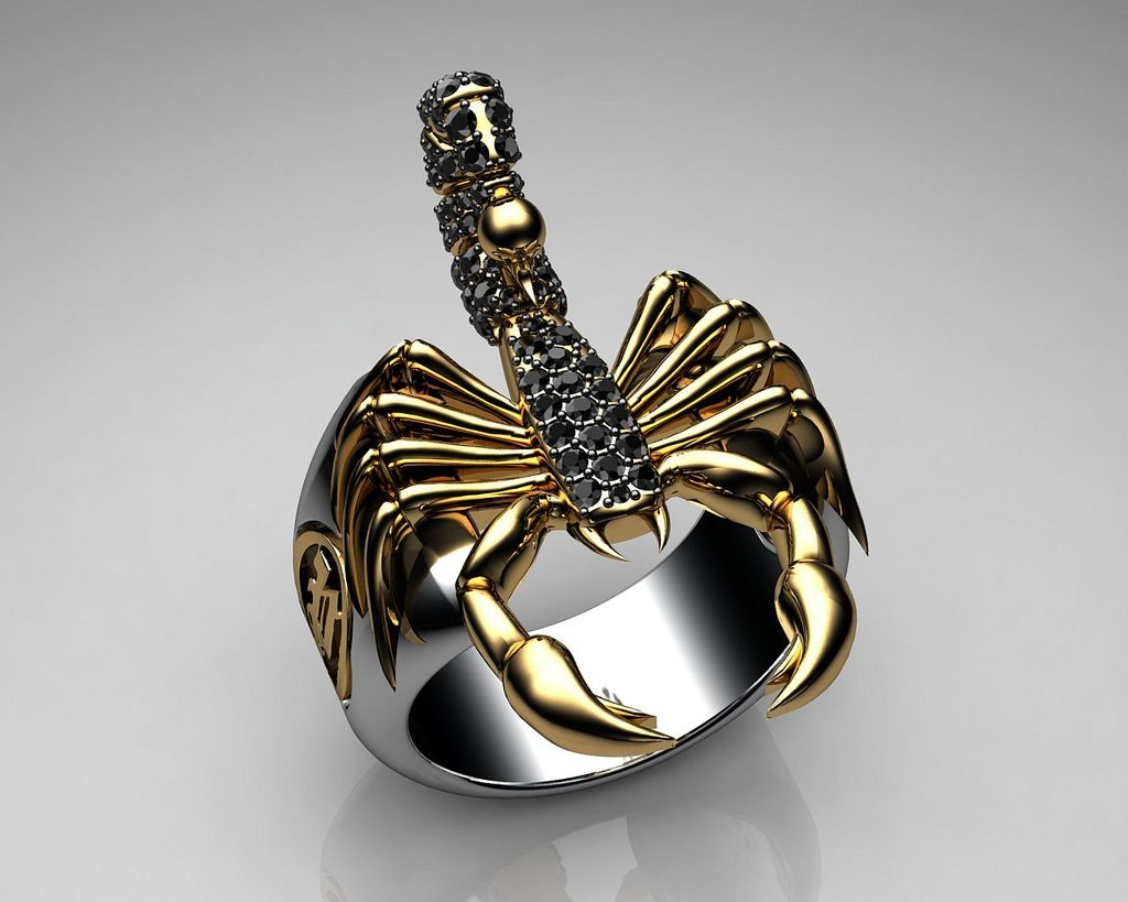 Unique Mens Ring Scorpion Sterling Silver and Gold with