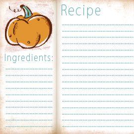 Free Fall Recipe Card  Recipe Cards Free Recipes And Recipes
