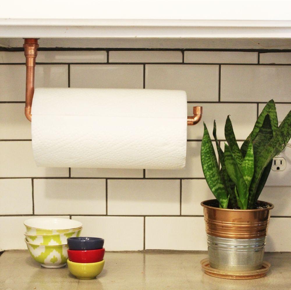 Diy Under Cabinet Hanging Copper Paper Towel Holder Diy Kitchen Backsplash Farmhouse Paper Towel Holders Paper Towel Holder