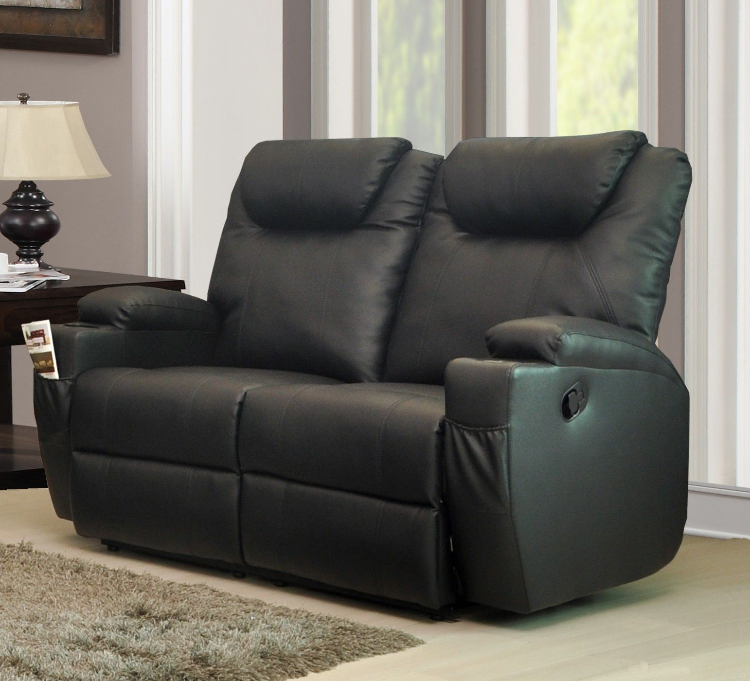 Furniture Living Room Black Full Grain Leather Reclining Sofa For