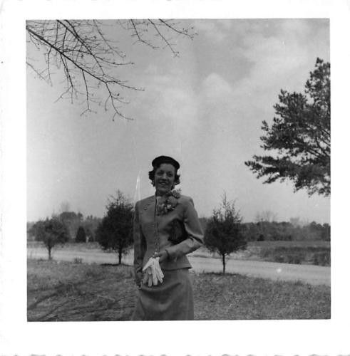 Photograph Snapshot Vintage Black and White: Woman Dress Smile Gloves 1950's
