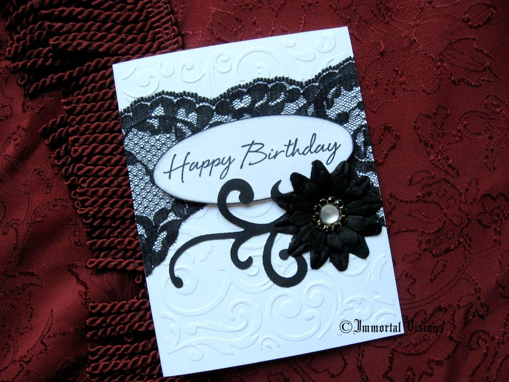 Gothic Happy Birthday Greeting Card Midnight Garden Black