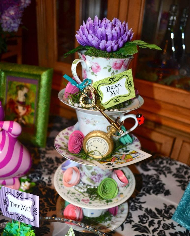 Mad hatter baby shower decor vintage mad hatter tea for Tea party decoration ideas