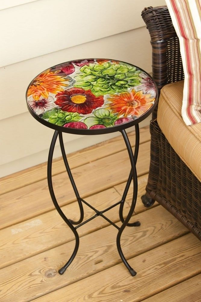Metal Outdoor Side Table End Accent Round Gl Patio Small Display Bistro Deck
