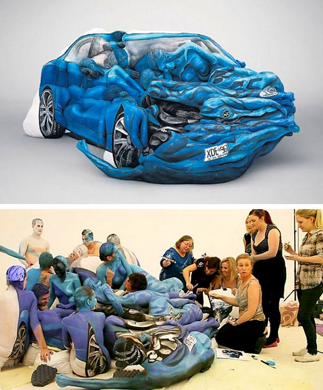 A car sculpture made of painted people