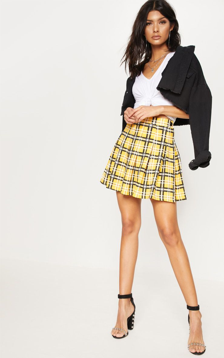391678a202a1 Yellow Check Tennis Skirt | Skirts | PrettyLittleThing | Fashion ...
