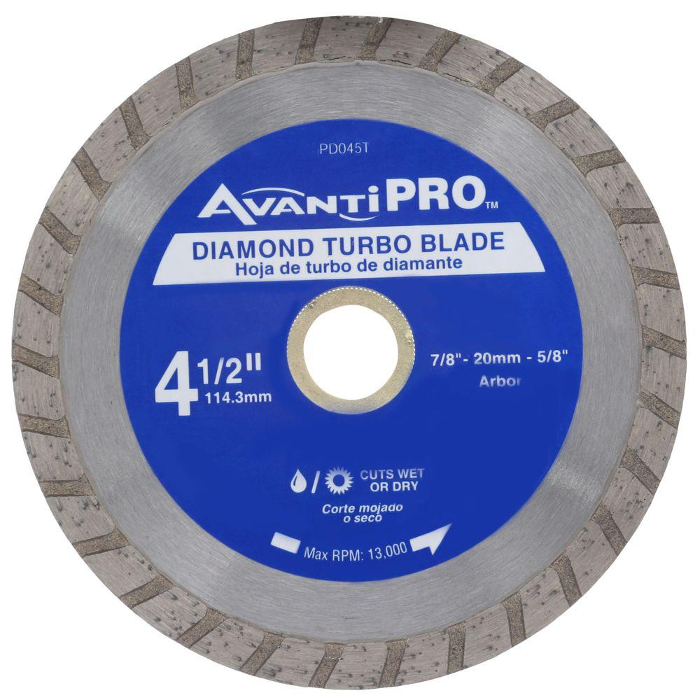 Avanti Pro 4 1 2 In Turbo Diamond Blade Hd T45s8 The Home Depot Diamond Blades Ceramic Floor Compact Circular Saw
