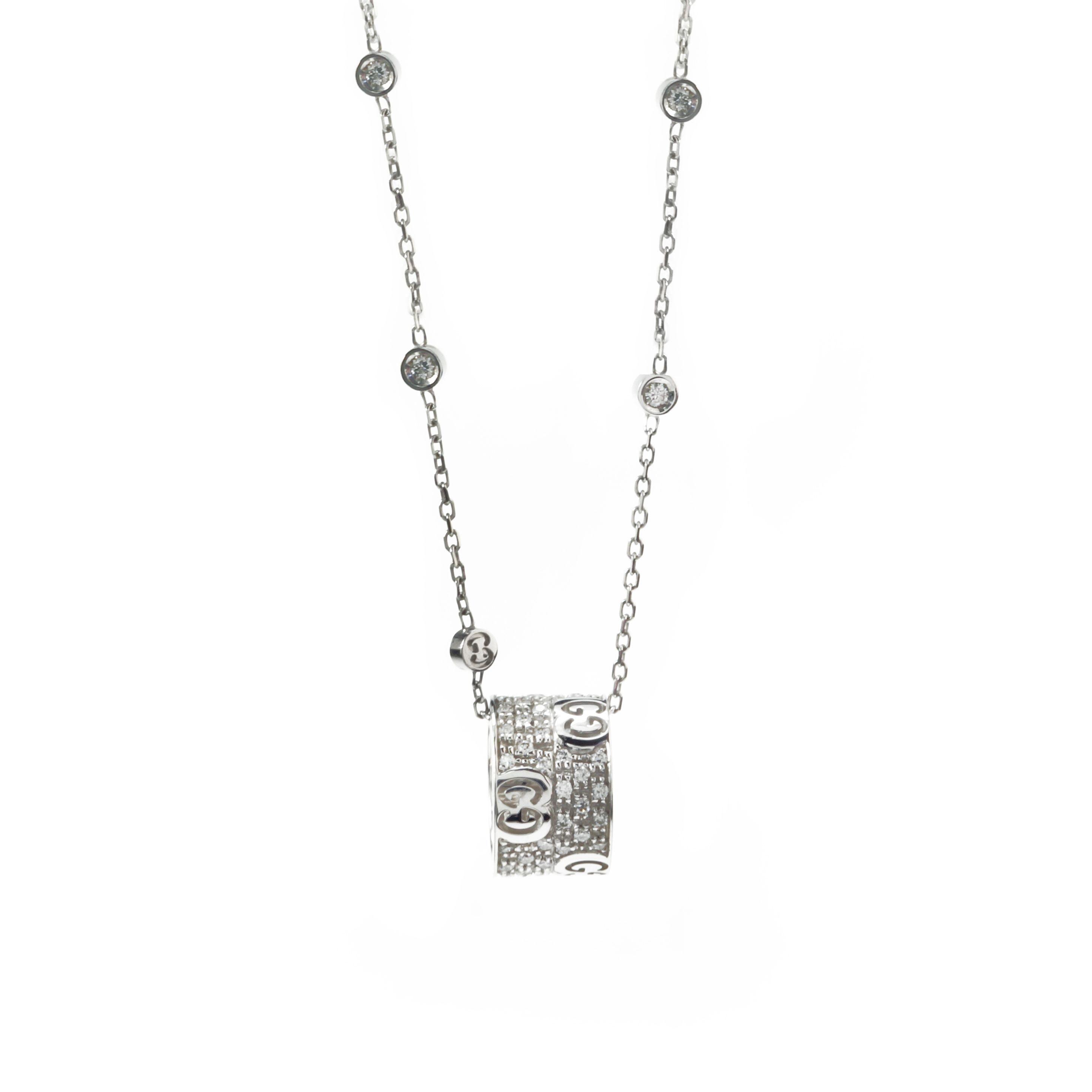 Gucci Icon Stardust Necklace White Gold Diamonds Kette Von