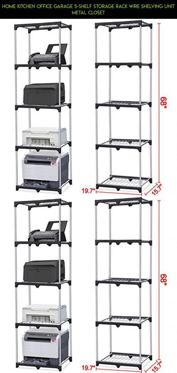 Home Kitchen Office Garage 5-Shelf Storage Rack Wire Shelving Unit ...