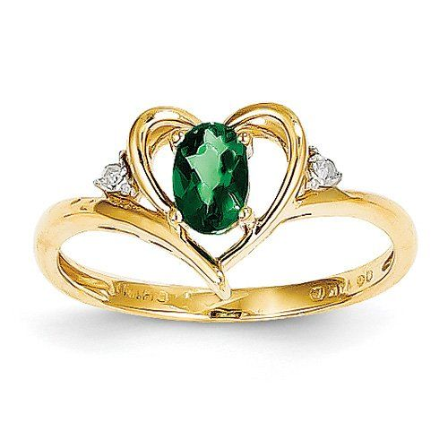14k Yellow Gold 6x4 Oval Diamond & Genuine Emerald Ring. Gem Wt- 0.36ct - http://www.loveuniquerings.com/rings-for-women/14k-yellow-gold-6x4-oval-diamond-genuine-emerald-ring-gem-wt-0-36ct/