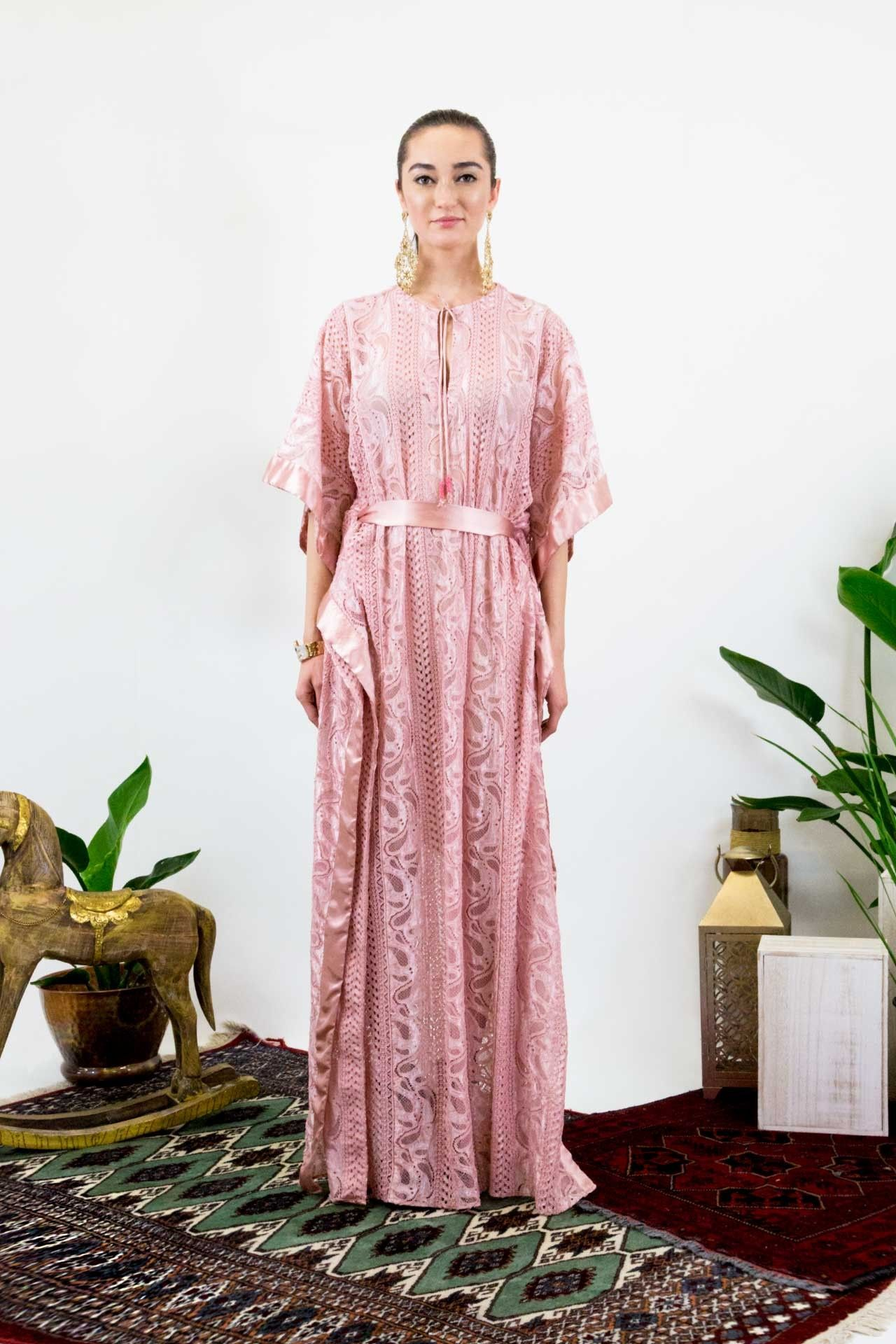 dc62eceb2 Light pink long lace kaftan dress designer women clothing shahida parides  also rh pinterest
