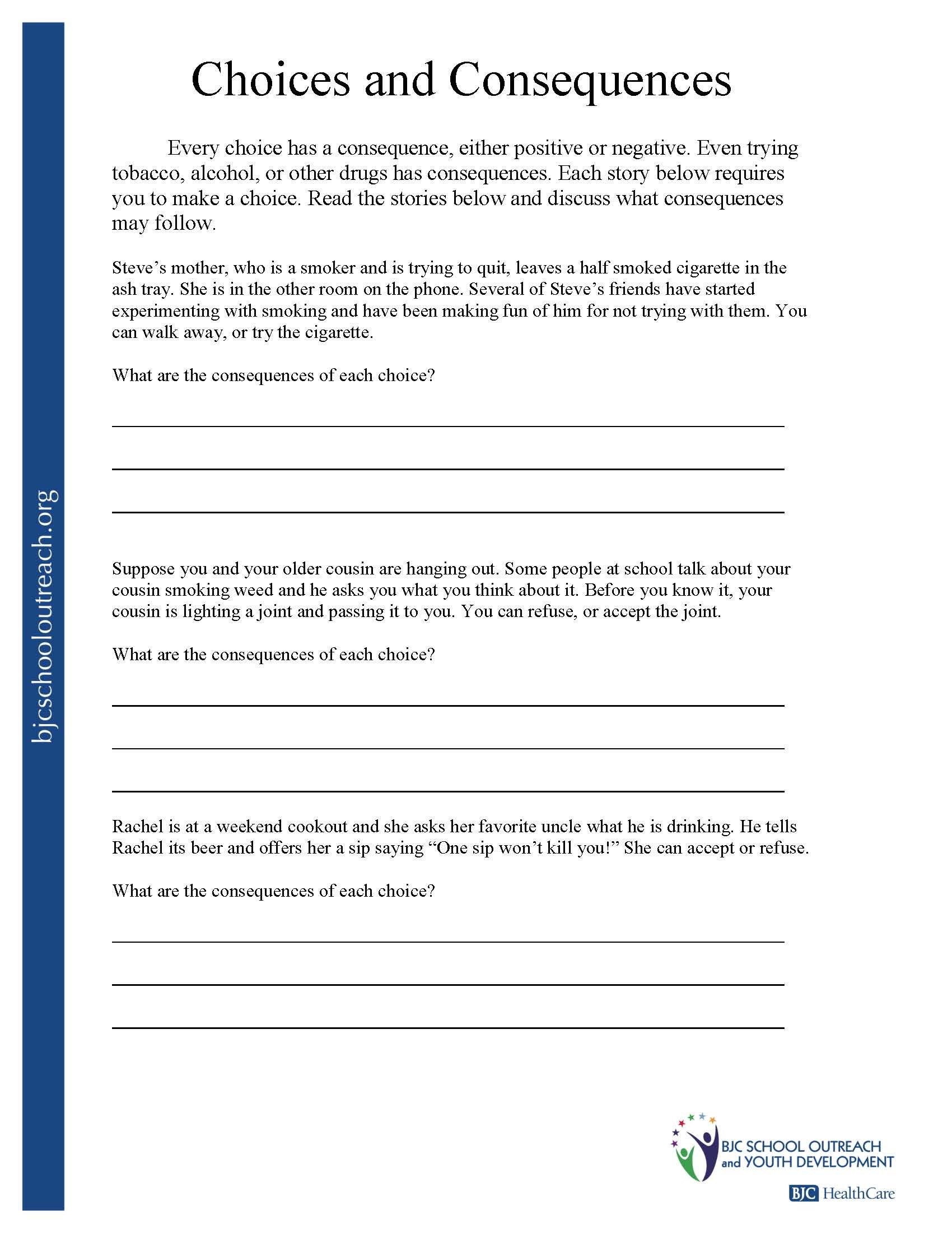 hight resolution of making the right choices worksheets - Google Search   Life skills lessons