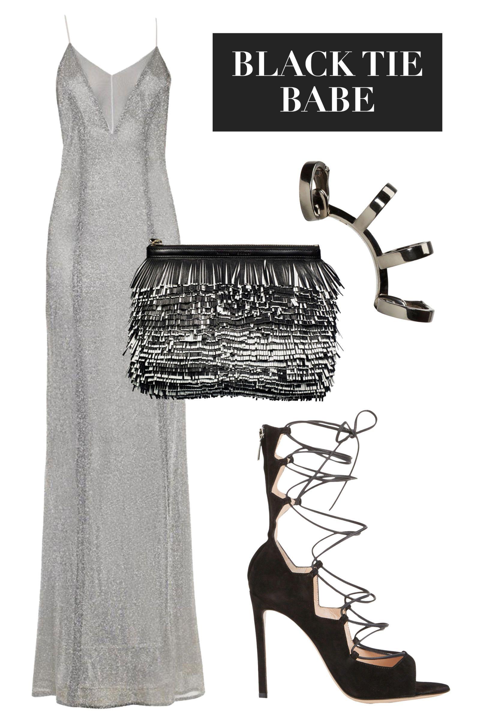 Galvan dress, $1,495, matchesfashion.com; Gianvito Rossi shoes, $1100, barneys.com; Repossi cuff, $4,080, ssense.com; Proenza Schouler bag, $1,990, shopBAZAAR.com.   - HarpersBAZAAR.com