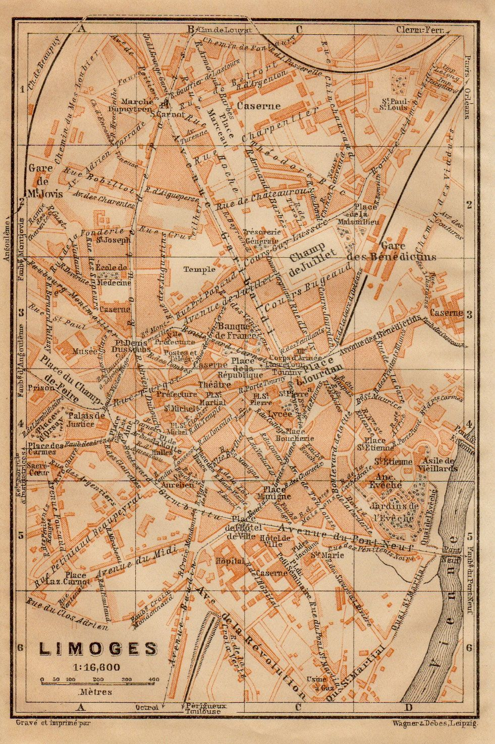 Limoges France Antique Map HauteVienne Limousin Region - Limoges france map