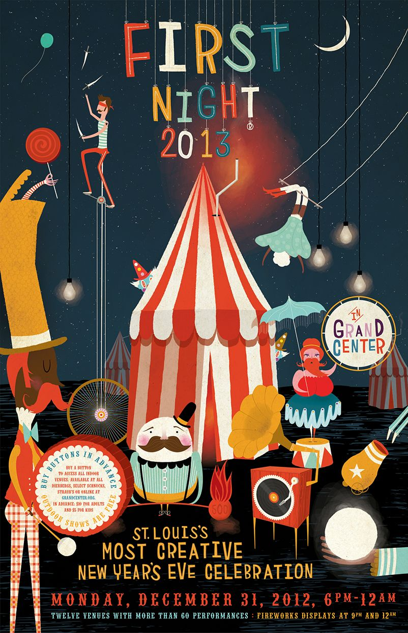 Poster design inspiration - So Charming Is This Poster By Illustrater Andrew Bannecker Entitled Traveling Circus