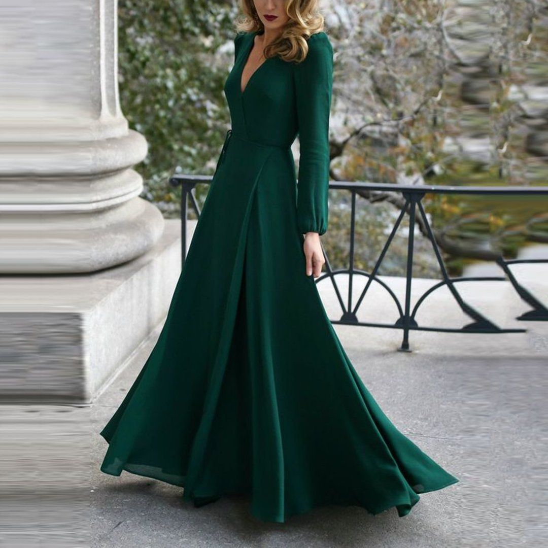 Fashion Green Long Sleeve Maxi Evening Dress - - Source by