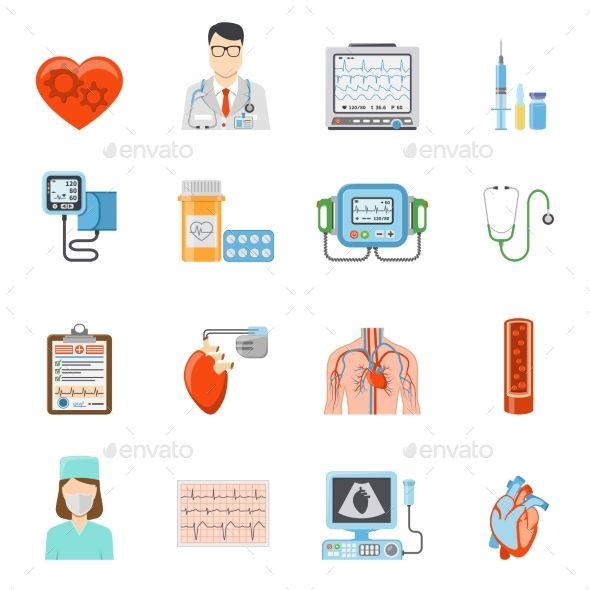 Cardiology Flat Icons Set Cardiology Flat Icon Flat Icons Set