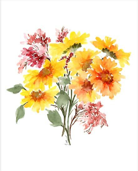 Yellow Daisy Bouquet Watercolor Flowers Watercolor Art Giclee
