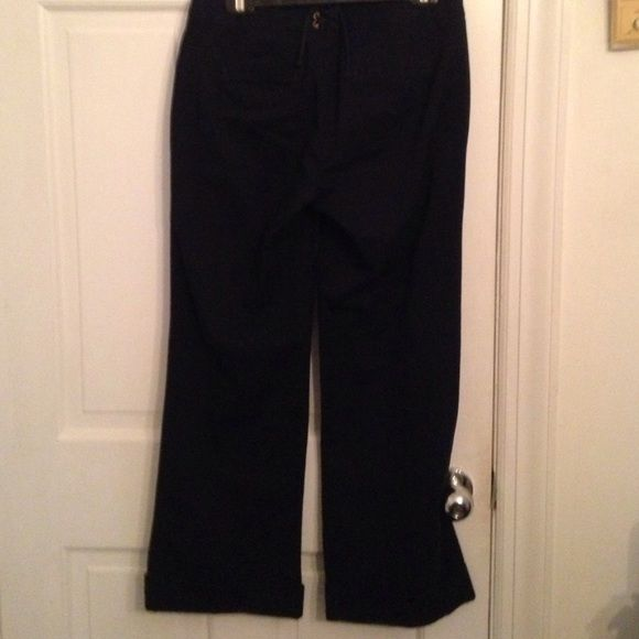 Jcrew navy sailor pants Jcrew navy sailor pants. Cool button front. Tie back. Wide leg J. Crew Pants Wide Leg