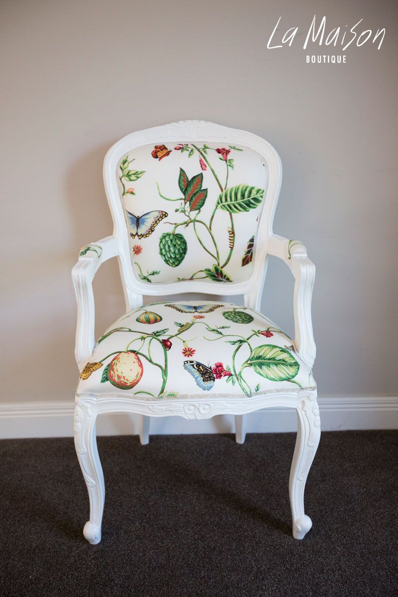 Floral Carved Armchair Secret Garden Floral French Chair Chair Upholstered Chairs Fabric
