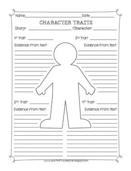 Character Traits Graphic Organizer Worksheet | Fabulous & Free for ...